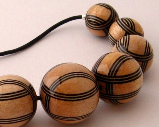 Black & Natural Striped Necklace