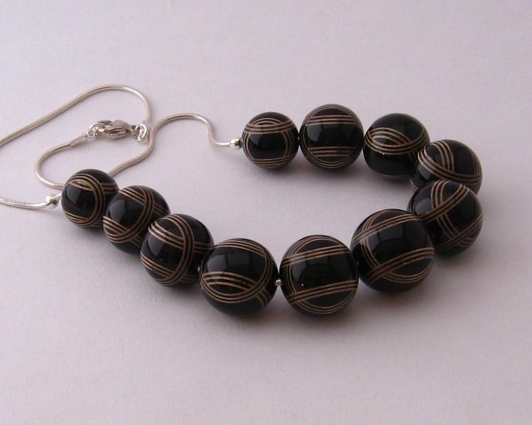 Ebony & Sycamore Striped Necklace