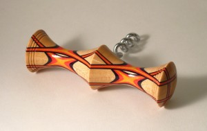 Corkscrew. Black, Red & Yellow laminated with sycamore.