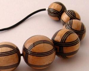 Black & Natural Striped Necklace